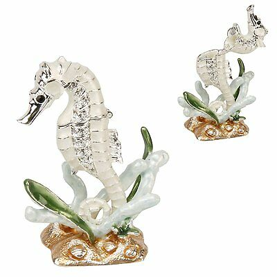 Cream + Crystal SEAHORSE Trinket Box / Ornament Gift *NEW*