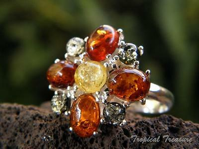 Baltic Amber & 925 SOLID Silver RING (Size 7 1/2)    #264585