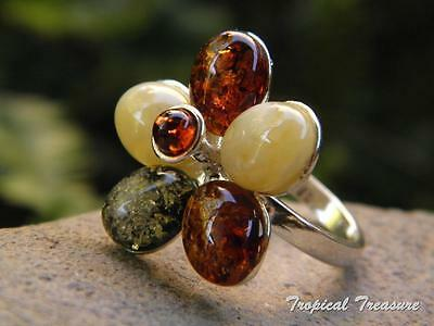 Baltic Amber & 925 SOLID Silver RING (Size 7, N 1/2)    #276959