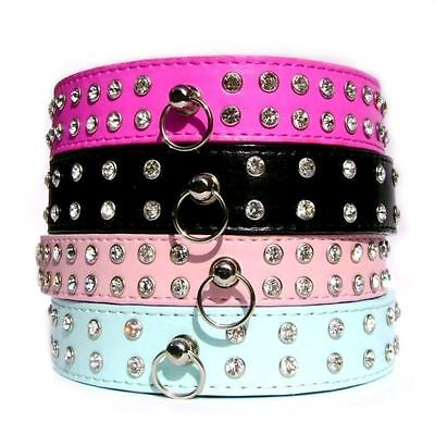 Luxury Diamante Dog Collar Rhinestone Crystal Bling PU Leather Dog Cat Pet New