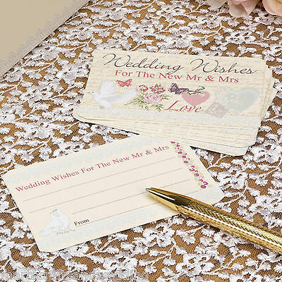 Pack of 25 With Love Wedding Wishes Cards - Guest Book Alternative - NEW