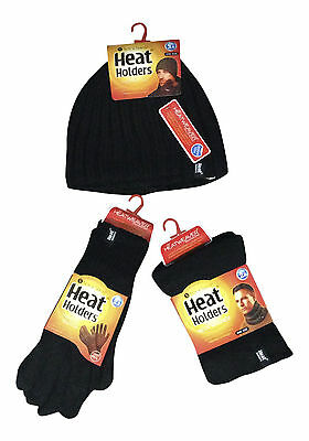 Heat Holders - Mens Thermal Winter Fleece Cable knit Hat, Neck Warmer & Gloves