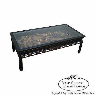 Antique Black & Gold Chinese Asian Coffee Table w/ Hand Carved Birds