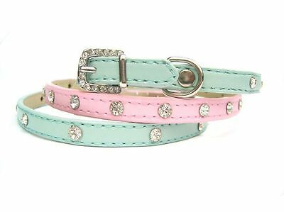 New Luxury Diamante Dog Collar Rhinestone Crystal Bling PU Leather Dog Cat Pet