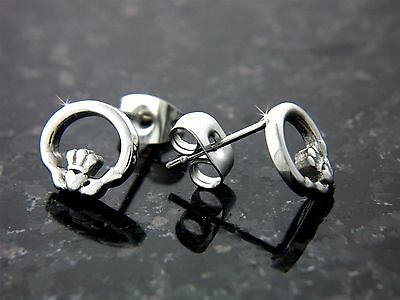 316L Stainless Steel Celtic Wee Claddagh Posts Earrings(S88)