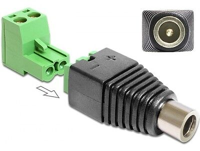 delock adapter dc 2,5 x 5,5mm buchse an terminalblock 2 pin 2-teilig testadapter