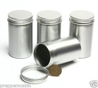 150ml Aluminium Screw Top Tin / Canister 90mm x 53mm Stash Survival Bushcraft