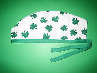 Surgical Scrub Hats/Cap St. Patrick's Day  Classic  White with Green Shamrocks