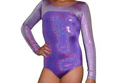 New girls gymnastic leotard long sleeve metallic purple with lilac top
