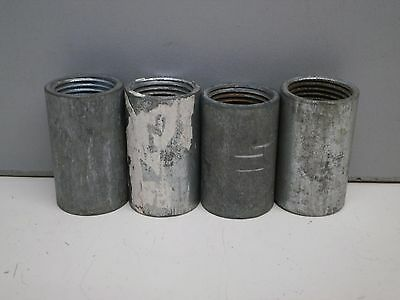 """Lot of (4) 1/2"""" One-Piece Fully Threaded Rigid Conduit Coupling Union Steel ½"""""""