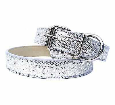 New Silver Luxury Sparkling Glitters Dog Collar PU Leather Bling Cat Pet