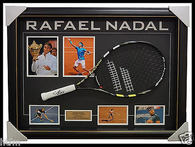 Rafael Nadal Grand Slam Champion Signed Tennis Racket with Photos Framed + COA