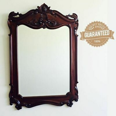 Solid Mahogany Wood Large Wall Bevelled Mirror Hand Carved Antique Style