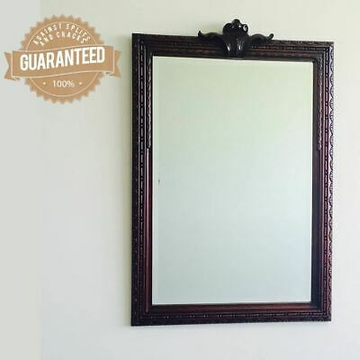 Large Rectangular Bevelled Wall Mirror Solid Mahogany Wood Hand Carved Antique