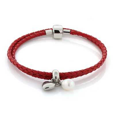 Leather Bracelet with Cultured Freshwater White Pearl and Heart Charm