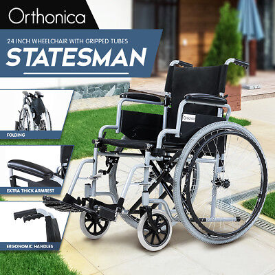 Orthonica Folding Wheelchair 24in Manual Mobility Aid Light Weight