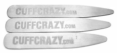 CuffCrazy Silver Professional Collar Stays 3 Pairs