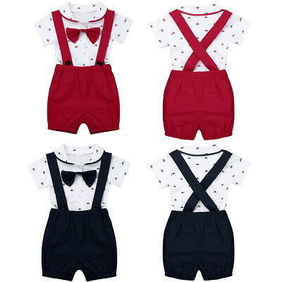 Toddler Baby Boys Gentleman Clothes+Hat Party Formal Tops & Pants Romper Outfits