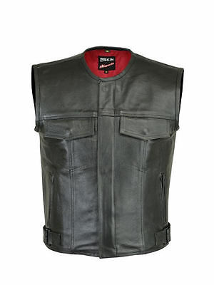 MENS levi  MOTORCYCLE BIKER WAISTCOAT FULL LEATHER BLACK VEST CUT ZIPPER POCKET