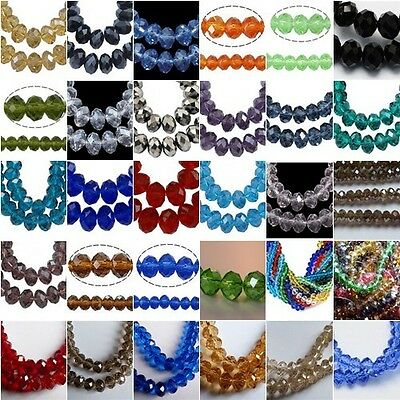 RONDELLE FACETED GLASS CRYSTAL BEADS 30 Colours to choose from &  4 Sizes