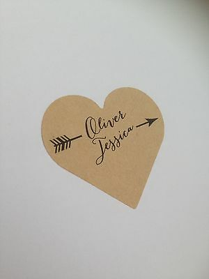 24 Personalised Heart Labels - Kraft or White - Sticker Vintage Arrow Wedding