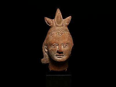 Ancient Egyptian Ptolemaic Terracotta Votive Head of Harpocrates
