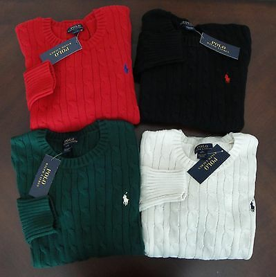 NWT Ralph Lauren Boys Cable Crewneck Pullover Sweater 8 10/12 14/16 18/20 NEW