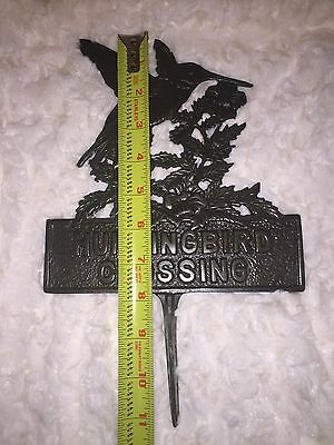 "1 Cast Iron HUMMINGBIRD CROSSING Signs Outdoor Garden Stake 11.5"" Tall"