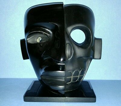 Obsidian Black Mask Teotihuacan Era - Duality Life & Death - Master Hand Crafted