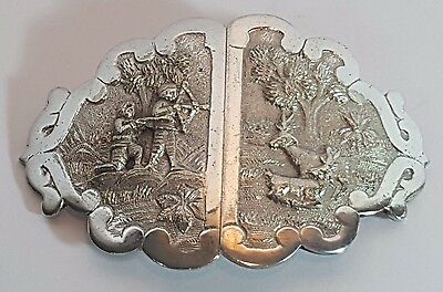 Antique Anglo Indian Solid Silver Nurses Belt Buckle Hunting Scenes