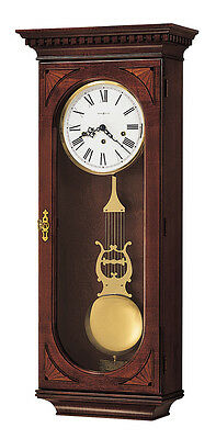 Howard Miller,Cherry Finished With Overlays, Chiming Wall Clock 613-637 Lewis