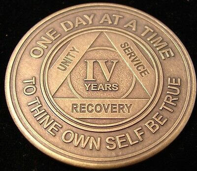 Alcoholics Anonymous AA 4 Year Bronze Medallion Token Coin Chip Sobriety Sober