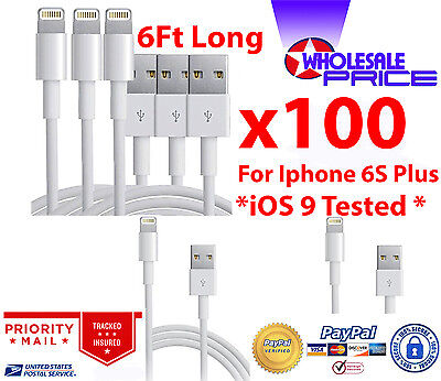 100X USB Charger Cable Cord Compatible With iPhone 5/6/6S Plus 6FT Wholesale Lot