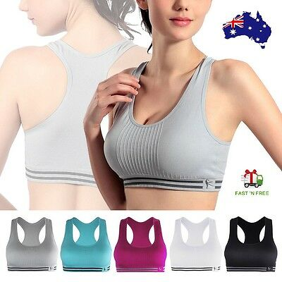 Women Racerback Sports Bra Yoga Fitness Padded Stretch Seamless Gym Tank Top