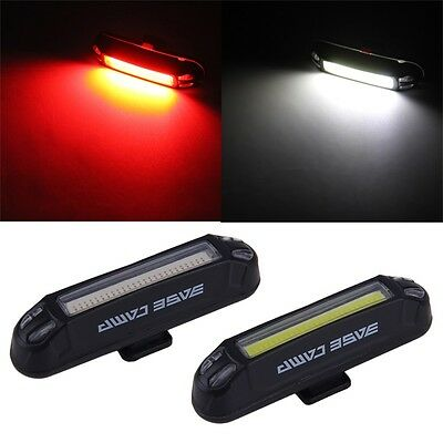 Bicycle Bike Head Front Rear Tail LED Light USB Rechargeable 100 Lumens+ IM