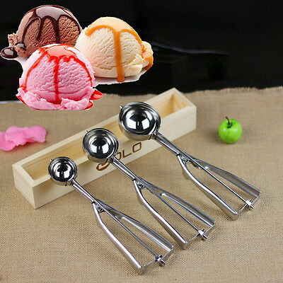 Ice Cream Spoon Stainless Steel Spring Handle Masher Cookie Scoop new JL