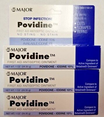 Povidone Iodine 10% First Aid Ointment 1oz Tube -3 Pack