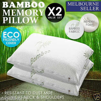 2 x Allergy Proof Large Bamboo Contour Fibre Pillow Memory Foam Cover 67 X 40CM
