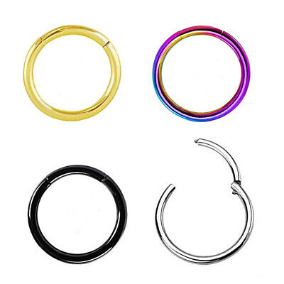 14/16G Stainless Steel Hinged Clicker Septum Segment Hoop Ring Ear Lip Nose
