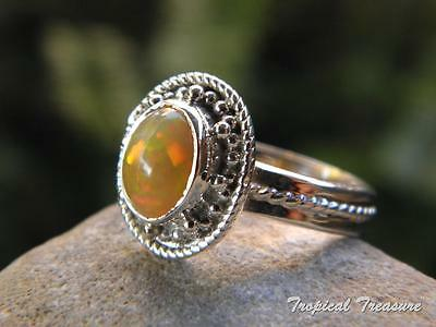 Ethiopian Opal & 925 SOLID Silver RING (Size 7 3/4, P)    #4715