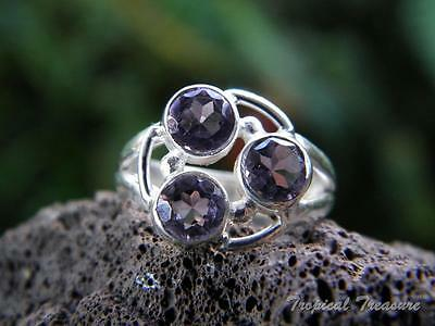 Amethyst Trio & 925 SOLID Silver RING (Size 5 1/2, K 1/2)    #258758