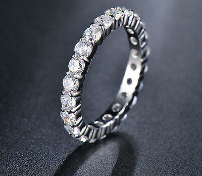 Stunning 925 Sterling Silver Classic Engagement Crystal Cubic Zirconia Ring
