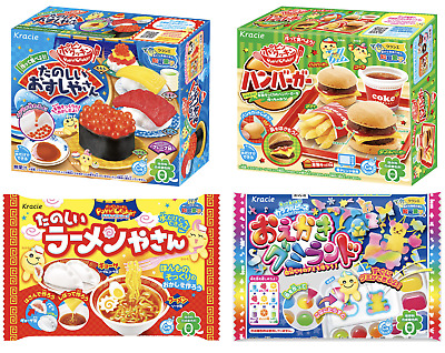 KRACIE POPIN COOKIN Hamburger, Sushi, Gummy Land & Ramen Noodles DIY Candy Kits