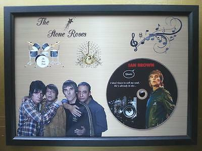 THE STONE ROSES Memorabilia CD Quote frame on a gold background,Ian Brown,New