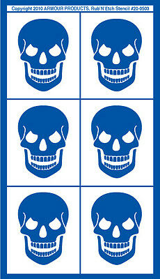 Armour Rub 'n' Etch Glass Etching Stencil Sheet ~ Skulls