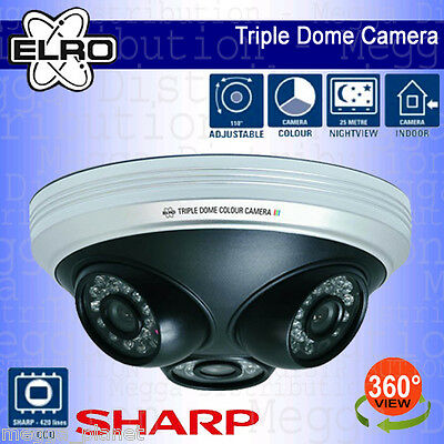 ELRO 3-in-1 Full 360° View Indoor Night Vision Colour CCTV Dome Security Camera