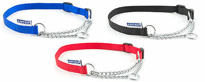 Ancol Quality Half Check Choke Nylon Chain Dog Training Collar 5 sizes 4 colours