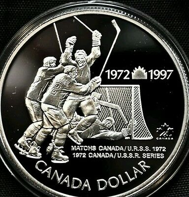 1972 1997 925% Sterling Silver Proof Dollar Coin Olympic Hockey Russia Vs Canada