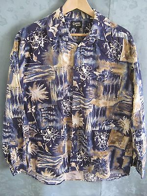 90's Cotton World Abstract Casual Shirt Size Large LS Round Cut Tails