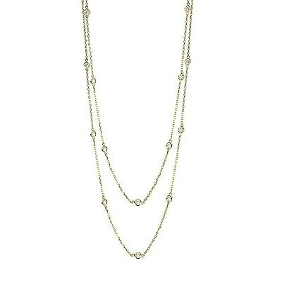 """Handmade 14K Yellow Gold Diamond Station Necklace By The Yard 36"""" 1.50 Carats"""
